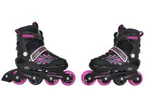 Inliner Skate Soft-Boot Kinder Jugend Damen Größenverstellung 5 Größen verstellbar Stripes Pink, Größe:37-41