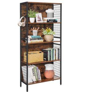 VASAGLE Bücherregal mit 4 Ablagen, 4 S-Haken inklusive | Küchenregal Standregal stabiles Stahlgestell Industrie-Design vintagebraun-schwarz LBC023B01