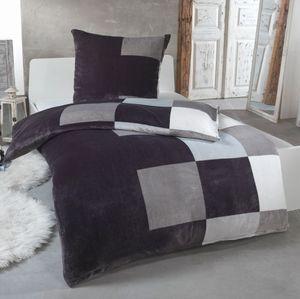 Malika® Kuschelige Winter Plüsch Bettwäsche Cashmere-Touch  mit Kissenbezug 80x80 wärmer als BIBER oder Flanell, Größe:135x200 + 80x80, Design - Motiv:Design 1