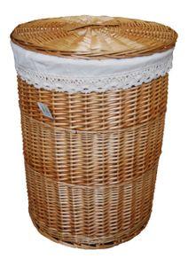 Wäschekorb Wäschetonnen Wäschetruhe Weide beige rund 60L Bezug Deckel D.39 H.55