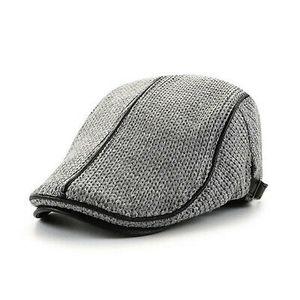 Herren Barett Hüte Schiebermütze Efeu Cabbie Baskenmütze Newsboy Winter Mütze (Grau)
