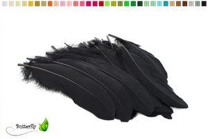 10 Gänsefedern 15-20cm, Farbauswahl:schwarz 030