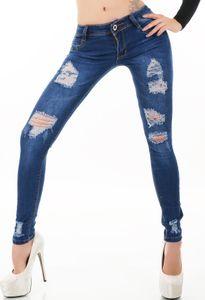 Röhren Stretch Jeans im Destroyed-Style mit Löcher, Farbe: Blau, Größe: 40