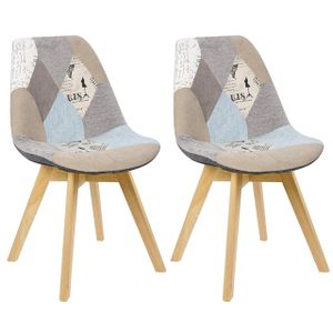 WOLTU Esszimmerstühle 2er-Set Design Stuhl Küchenstuhl Holz, Leinen, Patchwork