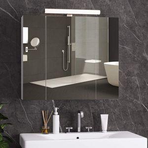 Spiegelschrank Bad mit Beleuchtung Spiegelschrank bad, Badspiegel mit LED Beleuchtung, Badezimmerschrank mit Steckdose,  Landhausstil im skandinavischen Design, Spiegelschrank badezimmer, Weiß
