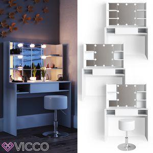 VICCO LED Schminktisch DAENERYS Weiß Frisiertisch Frisierkommode Spiegel Hocker