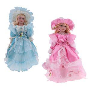16 Zoll Elegante Porzellanpuppe Sammler Miniaturen, 2 Stück Stehende Viktorianische Mädchen Lady Doll mit Haaren, Hut, Schuhen Und Kleidung