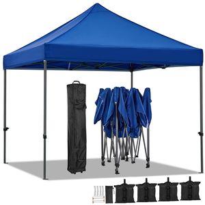 Yaheetech Pavillon 3x3 faltbar, Gartenzelt Partyzelt Faltpavillon mit Tragetasche Blau