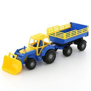 WADER Little Farmer Traktor mit Schaufel 2-Achsanhänger Trecker Kinderspielzeug