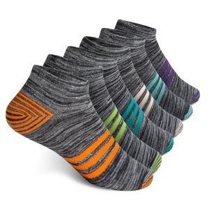 Vkele 6 Paar Sneaker Socken, bunte Streifen Socken, Kurzsocken, Gr. 39-42