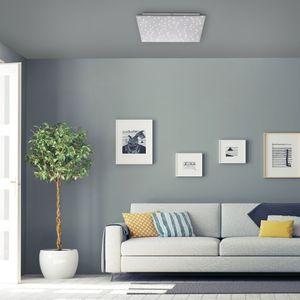 Paul Neuhaus LED Deckenleuchte Sparkle in Silber 18W 2050lm 450x450mm