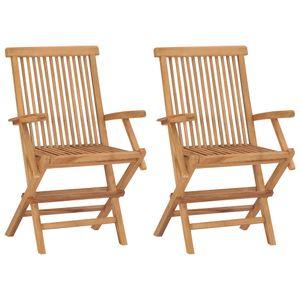vidaXL Klappbare Gartenstühle 2 Stk. Massivholz Teak