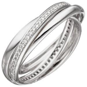 JOBO Damen Ring 60mm 585 Gold Weißgold 58 Diamanten Brillanten Diamantring Weißgoldring