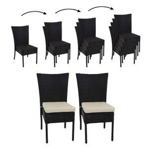 2x Poly-Rattan Stuhl HWC-G19, Balkonstuhl Gartenstuhl, stapelbar  schwarz, Kissen creme