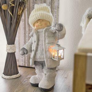 """Winterkind """"Junge"""" mit Teelichthalter-Laterne, Höhe ca. 52cm, Wollmütze, Weiß"""