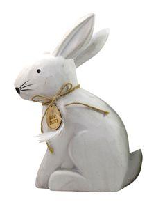 Dekoobjekt Hase weiß aus Holz 16x27 cm Osterdeko Osterhase Frühling Ostern Dekofigur