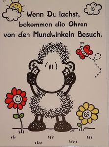 Sheepworld - 50571 - Postkarte, Nr. 27, Schaf, Wenn Du lachst bekommen die Ohren von den Mundwinkeln Besuch, Pappe