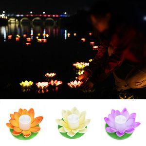 8 Stück Solar Betriebene Outdoor schwimmende  LED Lotus Licht Pool Garten Wasser Blume Lampe Lichter RGB-Wasser-bestaendiges Aussenschwimmteich-Nachtlicht