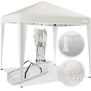 tillvex Pavillon 3x3m Beige wasserdicht | Pop-Up Faltpavillon höhenverstellbar | Gartenzelt UV Schutz 50+ | Partyzelt mit Tasche für Garten