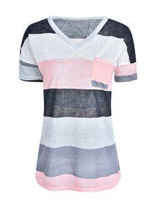Damen-Kurzarm-T-Shirt-Sweatshirt mit V-Ausschnitt und kurzen Ärmeln,Farbe: Pink,Größe:L