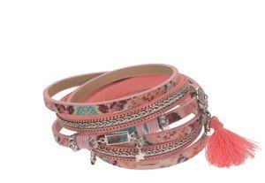Wickelarmband aus Leder mit Magnetverschluss mit Strass-Anhänger Quaste Herz Stern 1,5x39cm Farbe - coralle