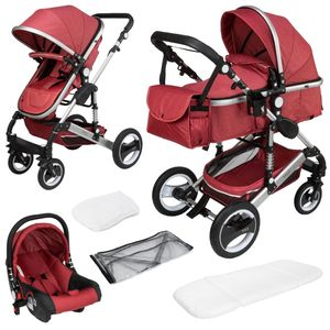 ib style® 3 in 1  Sole Kombi - Kinderwagen  Buggy Sportwagen inkl. Regen- / Insektenschutz Babyschale  ROT
