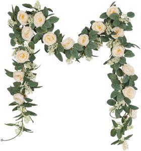 Rosengirlande Künstliche Rosenrebe mit grünen Blättern, 200 cm, 2 Stück Blumengirlande für Zuhause Hochzeit Dekoration
