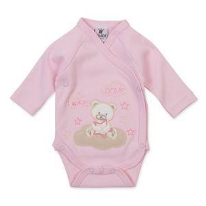 Milarda Baby Body Wickelbody Bär, rosa, Gr. 50-62 Größe - 50