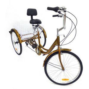 """24"""" 6 Gang Dreirad Fahrrad DIY Einkauffahrrad mit Korb für Erwachsene Senioren (Gold)"""