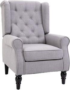 HOMCOM Einzelsofa Relaxsessel Einzelstuhl mit Tufting Holzfüße Polyester Grau 76 x 86 x 108 cm