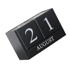 Würfel Holz Kalender Dauerkalender Tischkalender Handwerk Desktop Dekoration Farbe Schwarz