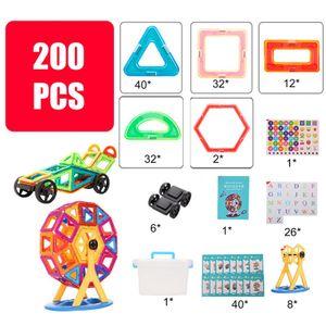 200stk Magnetische Bausteine Blocks, Magnetic Building Kinder Spielzeug ,Magnetisches 118-teiliges Set + Riesenrad + Rad + Aufbewahrungsbox + Karte