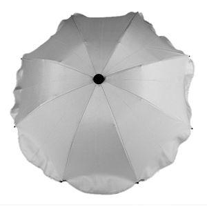 BAMBINIWELT Sonnenschirm für Kinderwagen Ø68cm UV-Schutz50+ Schirm Sonnensegel Sonnenschutz, hellgrau