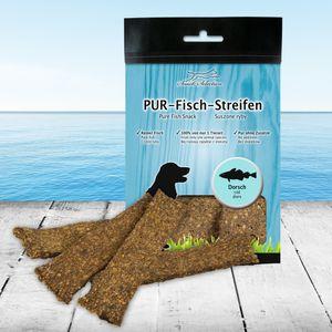 PUR Kaustreifen Dorsch 100 g Hundesnack 100% gluten- und getreidefrei ideal für empfindliche Hunde(-rassen) und Allergiker