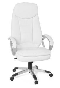 AMSTYLE Design Bürostuhl Weiß 120kg Schreibtischstuhl Kunstleder Modern | Ergonomischer Chefsessel Höhenverstellbar | Drehstuhl mit Wippmechanik Hoch | Weißer Schreibtisch-Stuhl Gepolstert