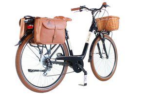 Elektro-Fahrrad Venere Dolce Vita by Canellini Citybike Frau Aluminium mit Korb und Seitentasche - Schwarz- Zentralmotor