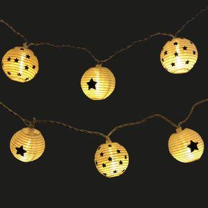 LED Lichterkette 20 Lampions mit Sternen für innen und außen - Strom betrieben - 5m