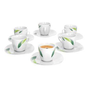 Van Well Siena 6er Set Espressotasse + Untertasse, Espresso-Set, Blattdekor, edles Marken-Porzellan