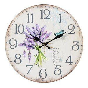 Lavendel Wanduhr im Landhausstil, Romantische Uhr mit Lavendelstrauß 28 cm
