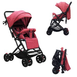 YOLEO Buggy, nur 5 kg Ultra Leicht Kinderwagen, Zusammenklappbar Jogger mit 8 Räder XL Einkaufs Korb, Liegeposition ab Geburt Rot