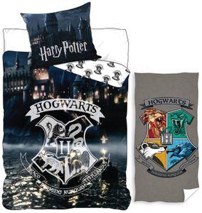 Harry Potter - Wende-Bettwäsche, 135x200 cm und Bade-Handtuch, 70x140 cm