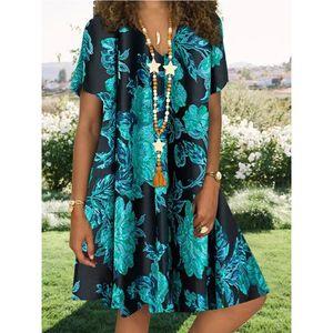 Frauen Vintage Casual Sommer Blumendruck V-Ausschnitt Kurzarm Kleid Minikleid Größe:L,Farbe:Blau