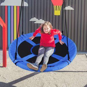 GOPLUS Schaukel Nestschaukel Hängeschaukel Rundschaukel Tellerschaukel Garten-Schaukel Kinderschaukel Outdoor-Schaukel, aus PP und Oxford-Gewebe, 150 kg belastbar, Durchmesser 100cm (Blau)