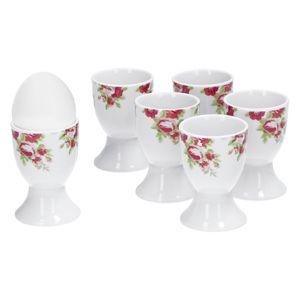 6tlg-Set Eierbecher Rosentraum Eier-Ständer hoch Ei-Halter rund Egg Tafelzubehör Porzellan Gastro