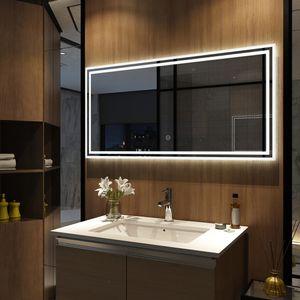 Meykoers LED Badspiegel 120x60cm Badspiegel mit Beleuchtung kaltweiß Lichtspiegel Badezimmerspiegel mit Touchschalter IP44 energiesparend