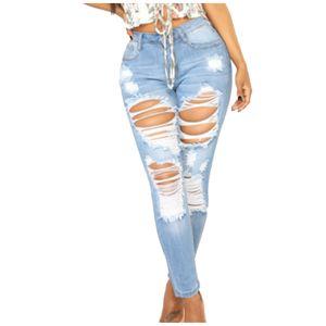 Damenmode y High Waist Torns Einfarbige Röhrenjeans Lange Hosen Größe:XL,Farbe:Blau