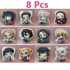 8 Stück Demon Slayer Anime Kissen 10cm Plüsch gefülltes Spielzeugpuppenkissen
