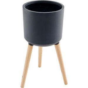 Faserzementglas mit MDF-Holzfüßen - 38 x 38 x 32,5 cm - Füße: 36 cm - Grau