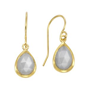 Jamelli Ohrhänger 925/- Sterling Silber vergoldet Mondstein 925/- Sterling Silber 2,7cm gelb Mondstein weiß 300230031J-1