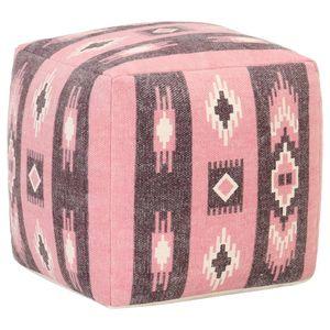 Pouf Gedrucktes Design Rosa 45x45x45 cm Baumwolle - Sitzhocker Sitztruhe Polsterhocker für Wohnzimmer Schlafzimmer Garten